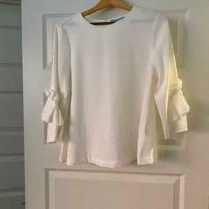 Antonio Melani White Pleated-Sleeve Blouse